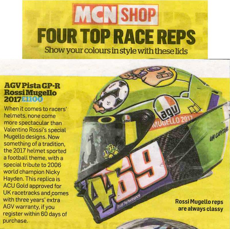 AGV's Rossi Mugello helmet rated as a top race replica