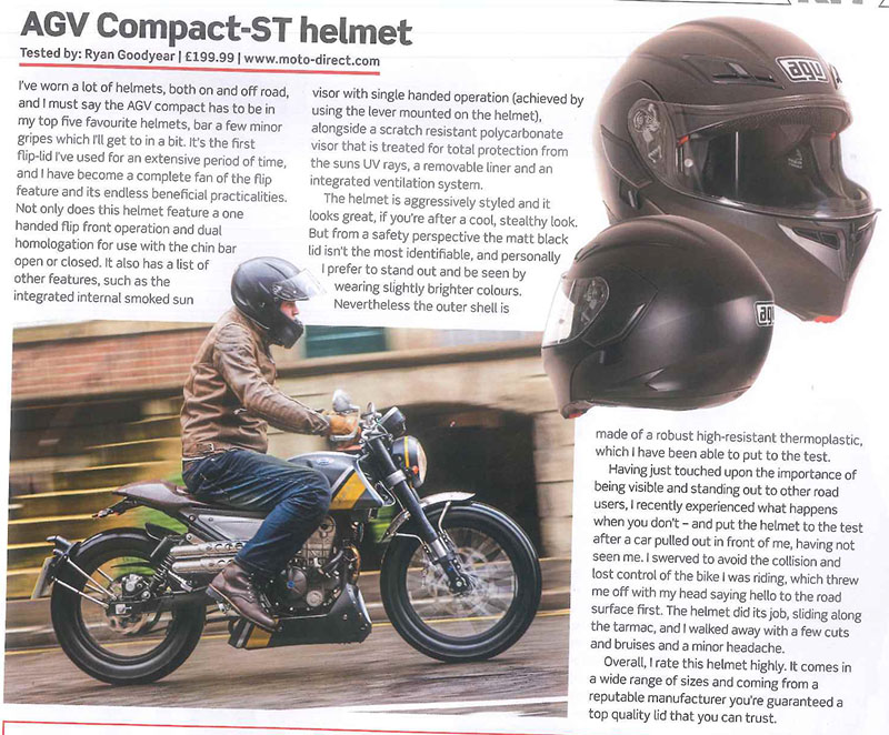 Motorcycle Magazine feature the AGV Compact-ST