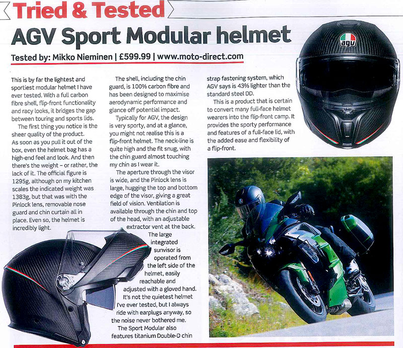 AGV's Sports Modular features in Motorcycle Magazine