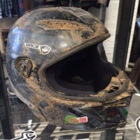 Guy Martins Crashed Helmet At Dainese Manchester